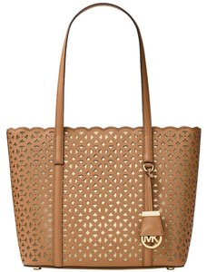 Michael Kors Laser Cut Travel Tote Saffiano Leather Desi Shoulder Bag