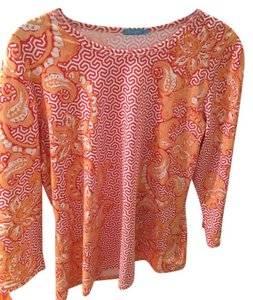 J.McLaughlin J. Signature Tee Multi Colored Coral Top Coral multi