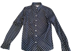 Banana Republic Non Iron Button Down Shirt navy blue polka dot