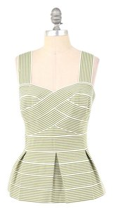 Anthropologie Striped Stretch Bandage Retro Top Green