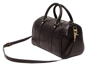 Clare V. Clare Vivier Leather Gold Hardware Duffle Chambray Satchel in Black