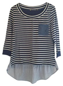 Anthropologie Striped T Shirt Navy