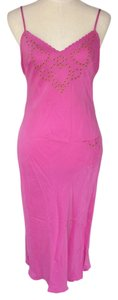 Betsey Johnson Lingerie Sexy Silk Full Slip Fuscia Top Pink