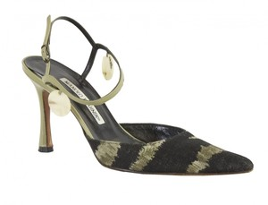 Manolo Blahnik Black-Khaki/Green Pumps