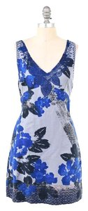 Free People short dress Blue Floral Embroidered Cotton Mini on Tradesy