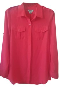 DKNY Shoulder Button Roll-up Possible Button Down Shirt Crimson