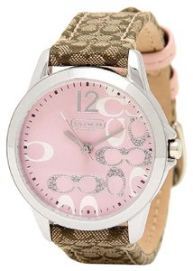 Coach NWT Coach Boyfriend 14501621 Signature Fabric Leather Pink Glitz Watch