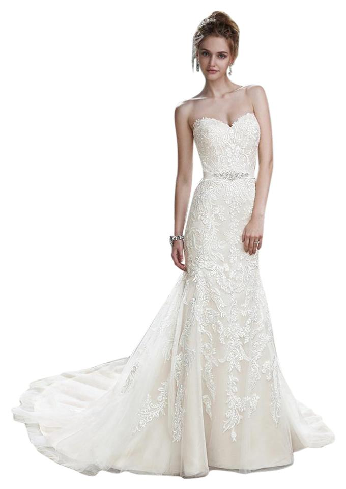 Maggie Sottero Ivory and Light Gold Lace Tulle Winstyn Wedding Dress ...