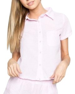 Brandy Melville Button Down Shirt Pink & White