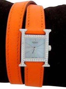 Hermès Heure H TPM 17,2 x 17,2mm Hermes diamond-set steel watch, 17.2 x 17.2