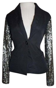 Mimi Chica Sequin Blazer Sequins Black and Gold Jacket