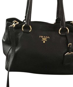 Authentic Prada Vit Daino BR4393 Satchel in Black
