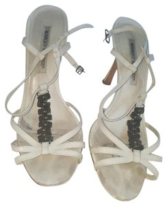 Manolo Blahnik Strappy White with brown brass accessories Sandals