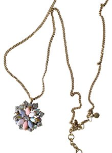 New J. Crew Necklace with Pouch Gemstone Medallion
