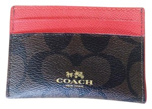 Coach Signature Card Case/Holder Brown Red
