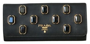 Prada Prada Black Nylon Jeweled Double Snap Wallet