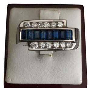 14 karat white gold men's diamond and blue sapphire ring 14 karat white gold men's diamond and sapphire ring