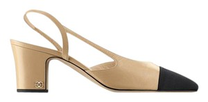 Chanel Slingbacks Two Tone Cc Slingback Size 38 Beige Pumps
