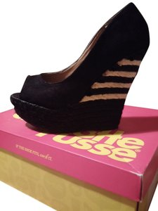 Charlotte Russe Espadrille Sexy BLACK AND STRIPED WEDGE Wedges