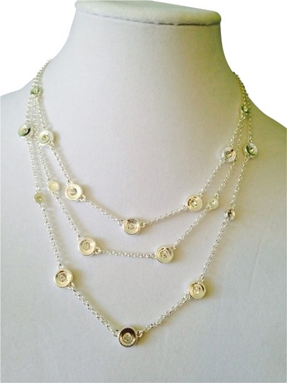 Robert Lee Morris Silver-Tone 3 Strand Circle & Crystal Station Necklace