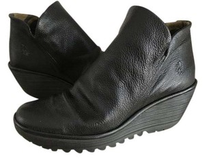 FLY London Bootie Zip Leather Black Wedges