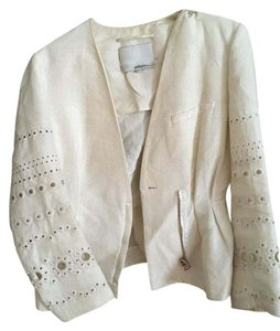 3.1 Phillip Lim Embroidered Motorcycle Peplum Antique White Jacket