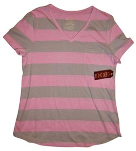Faded Glory Short Sleeves V Neck T Shirt Pink, Gray