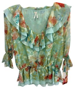 Lapis Anthropologie Print Chiffon Water Color Anthropologe Peplum Top Multi-Color