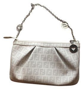 Fendi White With Grey Print Clutch