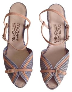 Salvatore Ferragamo blue/ light tan Sandals