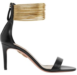 Aquazzura Spin Me Around Leather Gold black Sandals