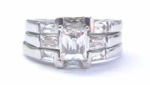 Other Platinum Tycoon Cut Diamond Solitaire W Accent 3 Ring Wedding Set 2.01