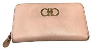 Salvatore Ferragamo double gancio saffiano leather zip around wallet new bisque pink beige