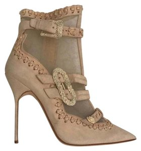 Marchesa Suede Mesh Buckle nude Boots
