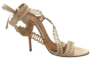 Marchesa Runway Water Snake Exoctic Skin white Sandals