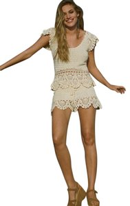 Free People Crochet Babe Sz Small Creme/natural Top