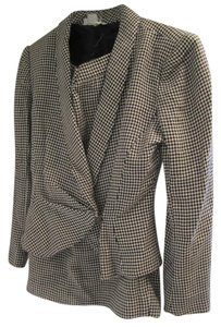 Emanuel Ungaro Houndstooth Pleated Suit Jacket Skirt