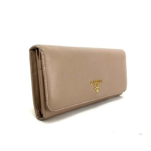Prada Saffiano Leather Continental Wallet, Beige