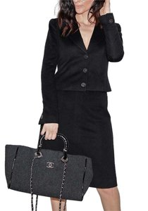 Chanel CHANEL 02A Black Cashmere Skirt Suit