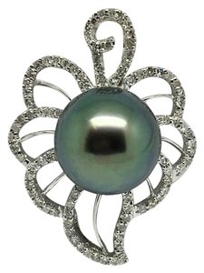 Other 14K White Gold Natural Diamond and Greenish Pearl Pendant