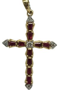 Other 14K Yellow Gold Natural Ruby and Diamond Crucifix Pendant