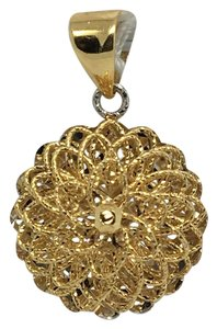 Other 18K Two-Tone Gold Diamond Cut Round Flower Pattern Reversible Pendant