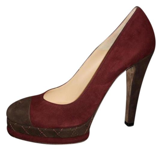 Chanel Platform Suede Quilted Burgundy Plum/Brown Pumps Image 0