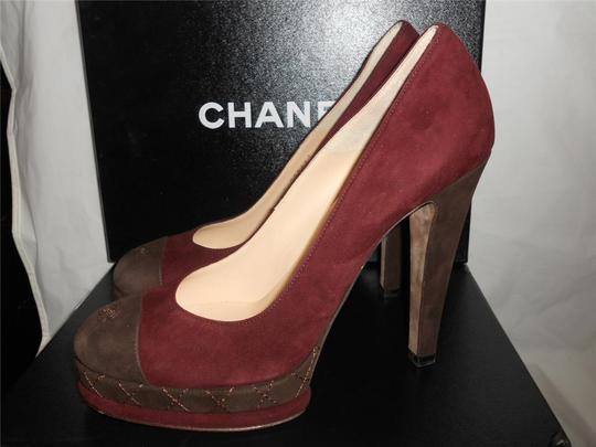 Chanel Platform Suede Quilted Burgundy Plum/Brown Pumps Image 2