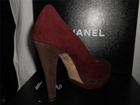 Chanel Platform Suede Quilted Burgundy Plum/Brown Pumps Image 8