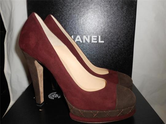 Chanel Platform Suede Quilted Burgundy Plum/Brown Pumps Image 4