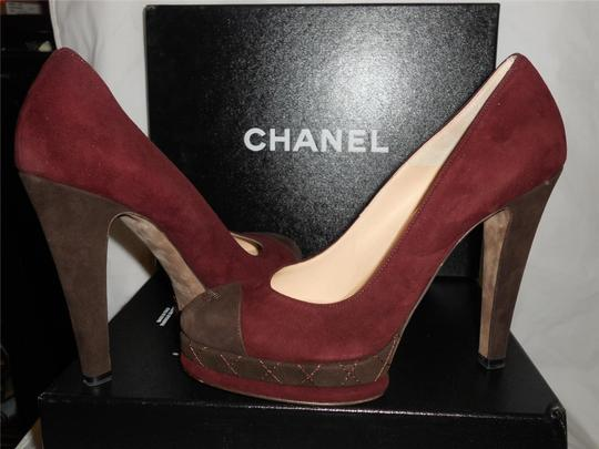Chanel Platform Suede Quilted Burgundy Plum/Brown Pumps Image 5