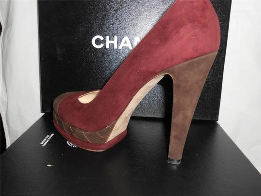 Chanel Platform Suede Quilted Burgundy Plum/Brown Pumps Image 7