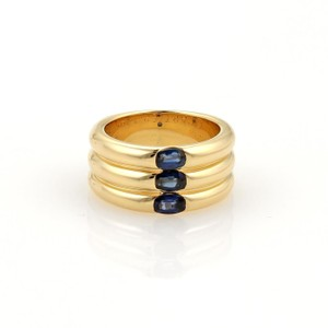 Cartier Cartier 1.10ct Sapphire 18k Gold 10mm Triple Stack Band Ring Size 5.75