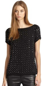 MILLY Embellished Scoop Night Out Beaded Top Black